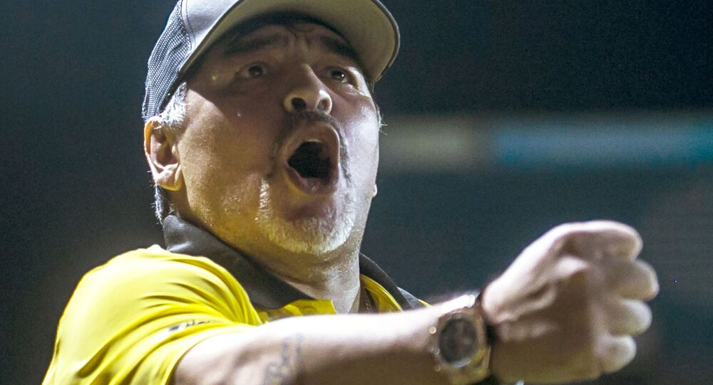 In this file photo taken on September 29, 2018, Argentine legend Diego Maradona coach of Mexican second-division club Dorados reacts during a match against Universidad de Guadalajara, at the Banorte stadium in Culiacan, Sinaloa State, Mexico