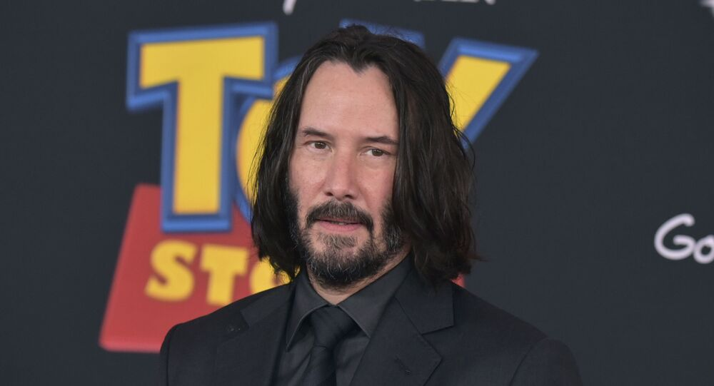 Keanu Reeves arrives at the world premiere of Toy Story 4 on 11 June 2019, at the El Capitan in Los Angeles