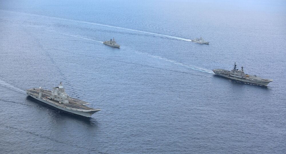 INS Vikramaditya aircraft carrier (L) arrives in the Indian Navy's Area of Operation alongside ships from India's western fleet (File)