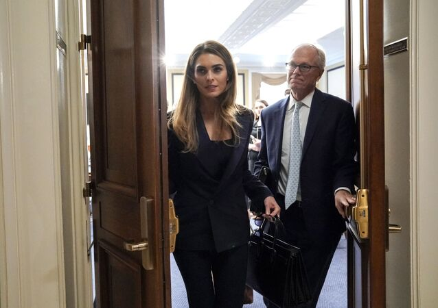 Former White House communications director Hope Hicks departs after a closed-door interview with the House Judiciary Committee on Capitol Hill in Washington, Wednesday, June 19, 2019.