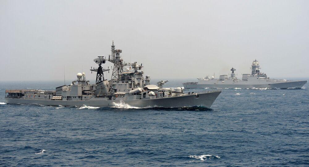 India's naval ship INS Ranvir (L) along with the INS Chennai (File)