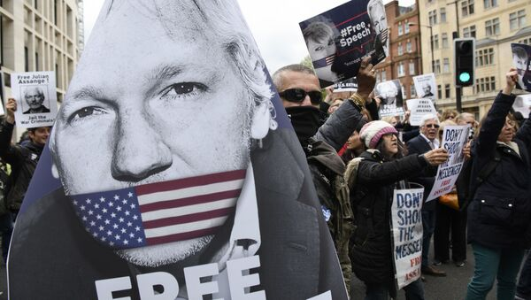 Supporters of WikiLeaks founder Julian Assange block the traffic on Marylebone Road to protest against the extradition hearing of Julian Assange at Westminster Magistrates Court, in London, Great Britain - Sputnik International