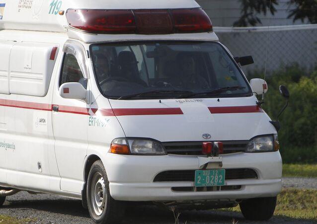 An ambulance near Phnom Penh in Cambodia