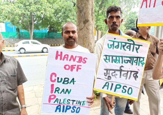 Indian parties hold protests amid visit by US Secretary of State Pompeo