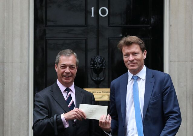 Leader of the Brexit Party Nigel Farage delivers a letter to Downing Street with Brexit Party's Richard Tice, new member of the European Parliament, in London, Britain, June 7, 2019