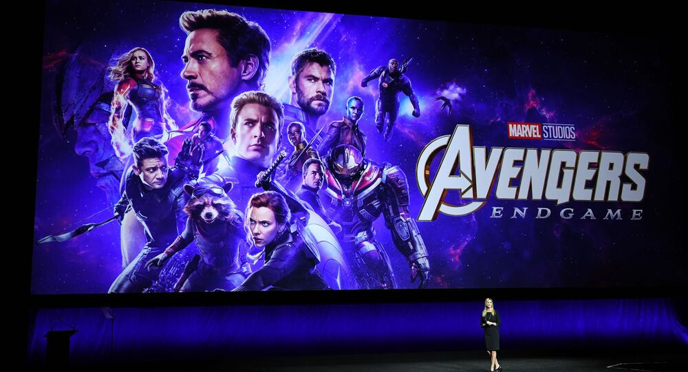 President of Walt Disney Distribution Franchise Management, Business & Audience Insights, Cathleen Taff, speaks in front of the new Avengers Movie Poster during the CinemaCon Walt Disney Studios Motion Pictures special presentation at the Colosseum Caesars Palace on April 3, 2019, in Las Vegas, Nevada