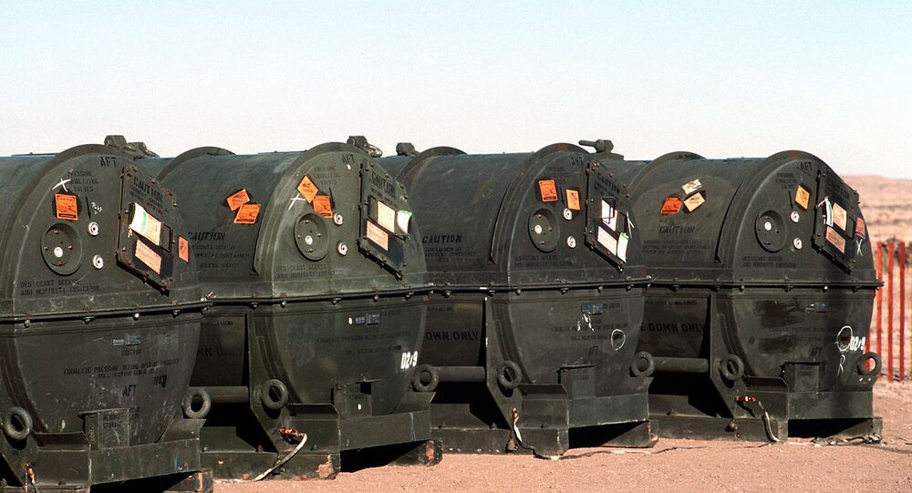 Pershing II missile containers before destruction