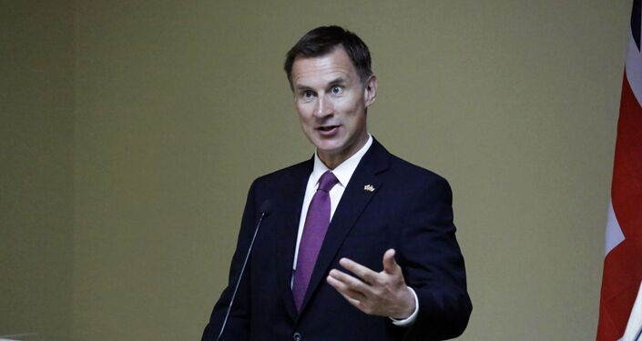 Britain's Secretary of State Jeremy Hunt, speaks in a press conference with Kenya Cabinet Secretary for Foreign Affairs Monica Juma, during his official visit, in Nairobi, Kenya, Friday, May 3, 2019