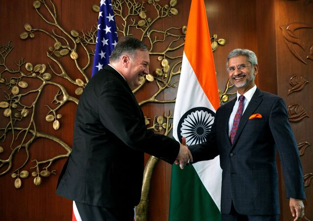 U.S. Secretary of State Mike Pompeo shakes hands with Indian Foreign Minister Subrahmanyam Jaishankar during their meeting at the Foreign Ministry in New Delhi, India, June 26, 2019