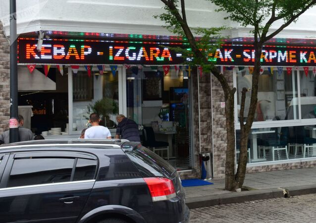 Turkish shops, cafes and restaurants in the capital of Adjara