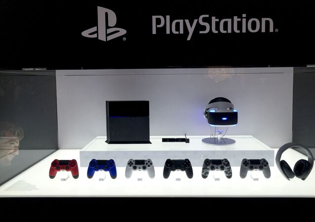 Sony PlayStation 4 wireless controllers are displayed at the E3 Electronic Entertainment Expo at Los Angeles Convention Center on Tuesday, June 16, 2015, in Los Angeles