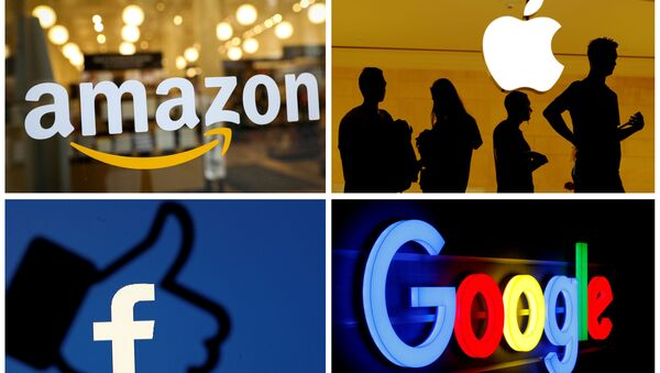 FILE PHOTO: The logos of Amazon, Apple, Facebook and Google in a combination photo from Reuters files - Sputnik International