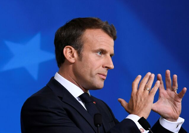 French President Emmanuel Macron speaks during a news conference after the European Union leaders summit in Brussels, Belgium, June 21, 2019