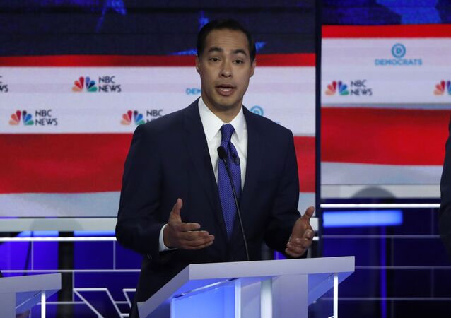 Former HUD Secretary Julian Castro speaks at the first U.S. 2020 presidential election Democratic candidates debate in Miami, Florida, U.S., June 26, 2019