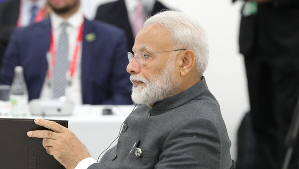 India's Prime Minister Narendra Modi attends a meeting of the BRICS heads of state on the sidelines of the Group of 20 (G20) leaders summit in Osaka, Japan - Sputnik International