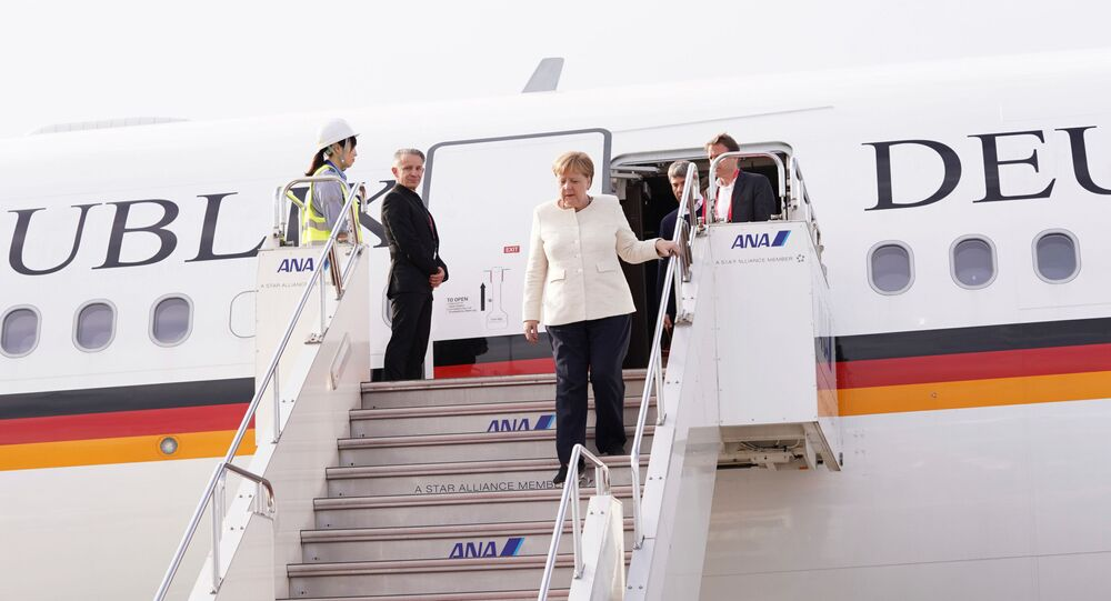 German Chancellor Angela Merkel arrives at Kansai international airport ahead of the start of the G20 leaders summit in Izumisano, Osaka prefecture, Japan, June 28, 2019
