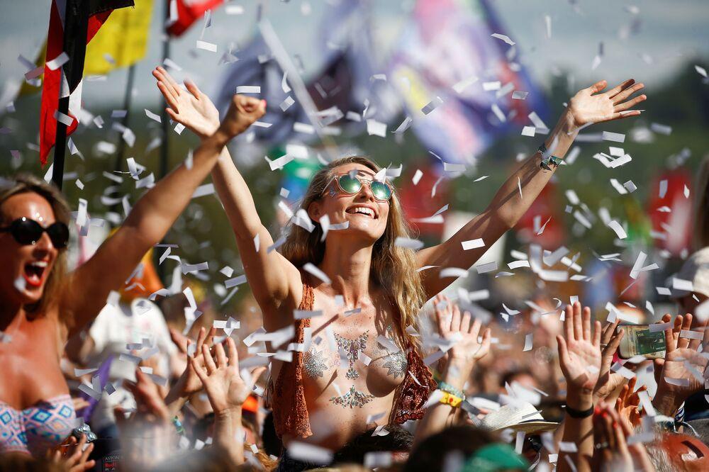 Revellers During Glastonbury Festival in Somerset