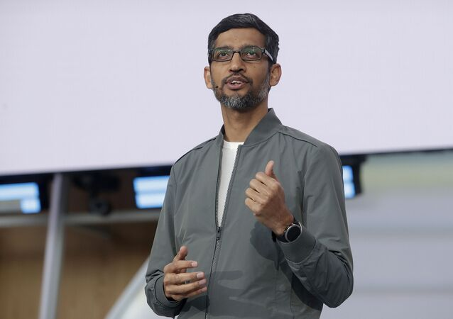 FILE - In this 7 May 2019 file photo, Google CEO Sundar Pichai speaks during the keynote address of the Google I/O conference in Mountain View, California.