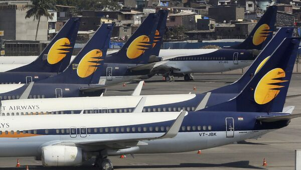 Jet Airways aircrafts are parked at Chhatrapati Shivaji Maharaj International Airport in Mumbai - Sputnik International