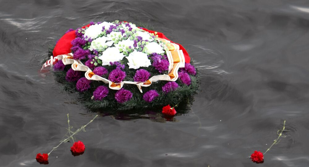 A wreath placed on the water (File)