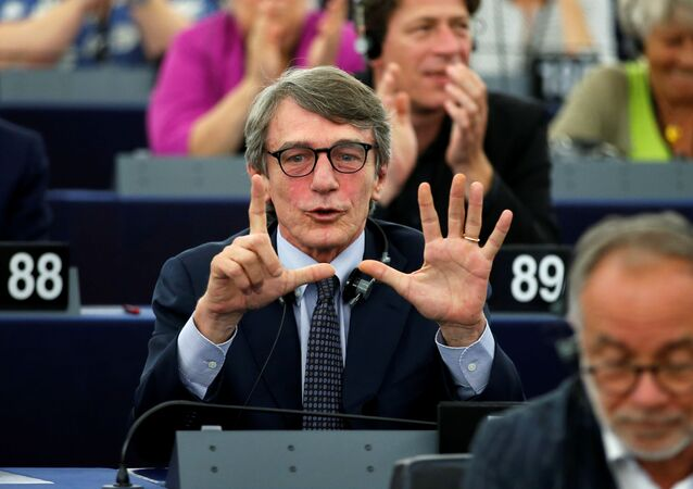 Italian MEP David-Maria Sassoli (S&D Group), candidate for the presidency of the European Parliament, reacts after the restults of the first round vote to elect the new president of the European Parliament during the first plenary session of the newly elected European Assembly in Strasbourg, France, July 3, 2019