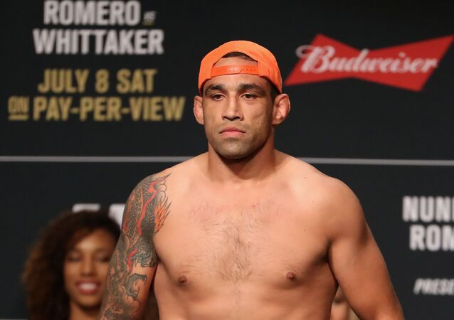LAS VEGAS, NV - JULY 07: Fabricio Werdum of Brazil poses on the scale during the UFC weigh-in at the Park Theater on July 7, 2017 in Las Vegas, Nevada