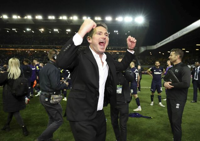Derby County manager Frank Lampard celebrates victory after the English Championship Play-Off, Semi Final, Second Leg soccer match against Leeds United at Elland Road, Leeds, England, Wednesday May 15, 2019