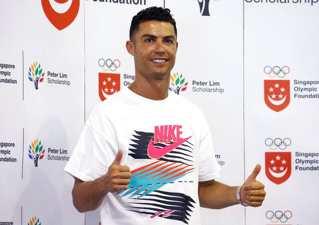 Portuguese soccer player Cristiano Ronaldo is seen during a visit to Yumin Primary School in Singapore, July 4, 2019