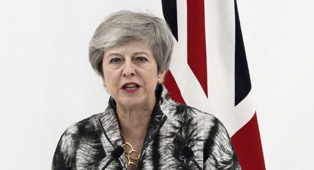 British Prime Minister Theresa May speaks during a press conference after the G-20 summit in Osaka, western Japan Saturday, 29 June 2019