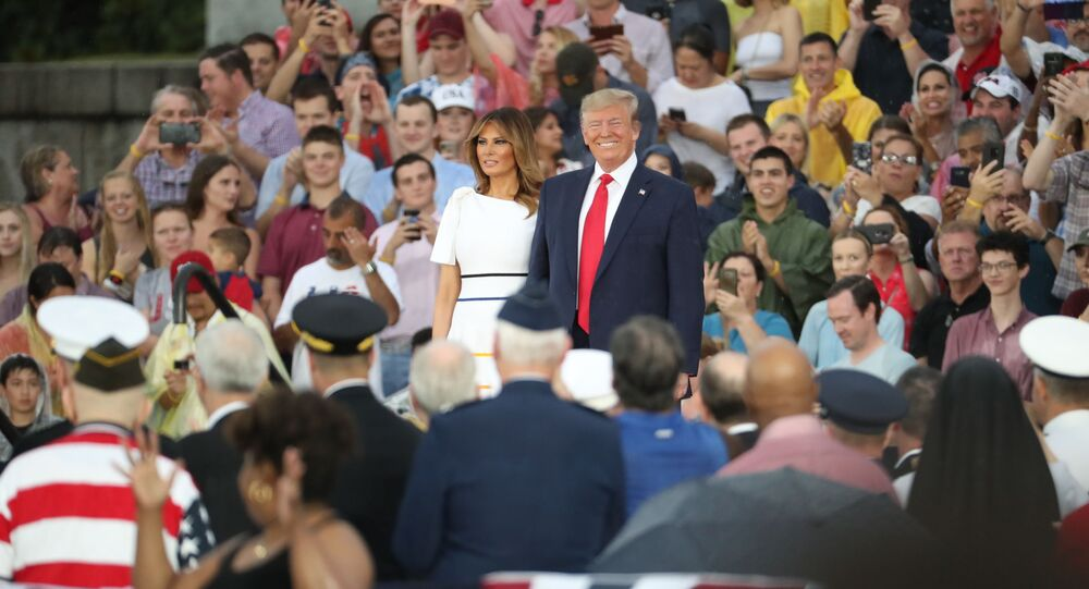 President Donald Trump and first lady Melania Trump, arrives speaks to an Independence Day celebration in front of the Lincoln Memorial in Washington, Thursday, July 4, 2019. (AP Photo/Andrew Harnik)