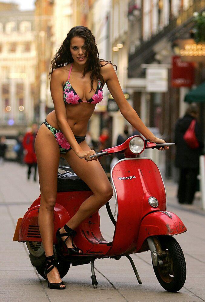 A model demonstrates a bikini designed by George Davis in London