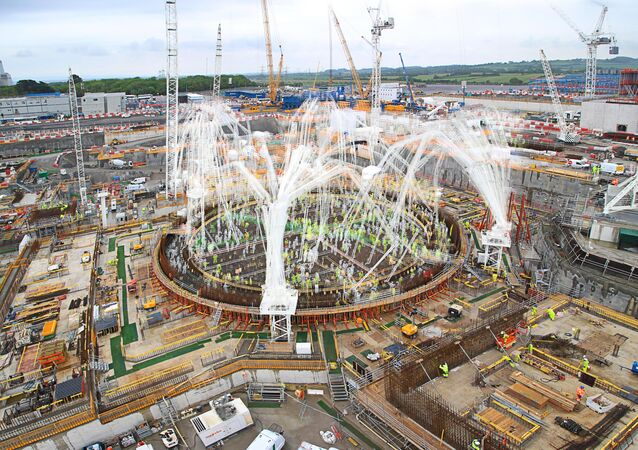 A timelapse image showing the pouring of the concrete base for Hinkley Point C's first reactor