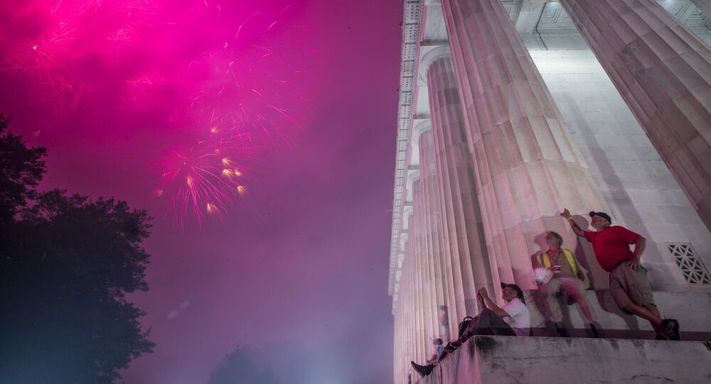 Fireworks seen from the Lincoln Memorial explode over the Potomac River for Independence Day, Thursday, July 4, 2019, in Washington