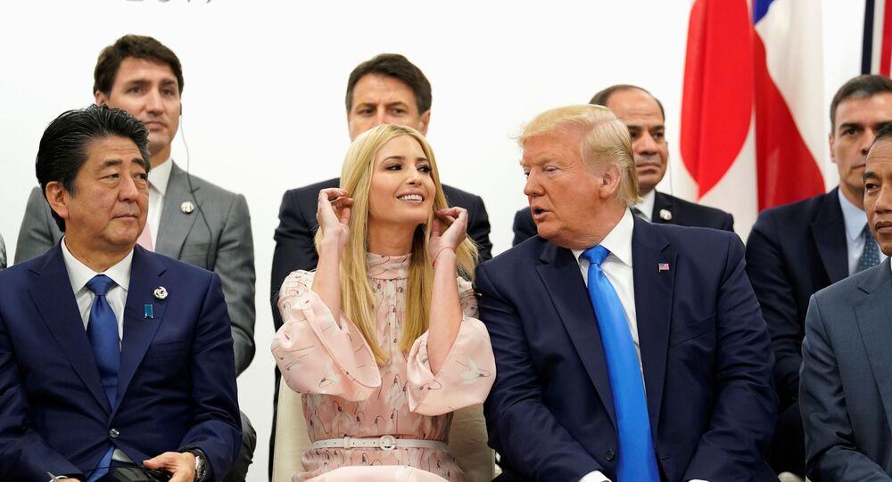 Japan's Prime Minister Shinzo Abe, U.S. President Donald Trump and White House senior advisor Ivanka Trump attend a women's empowerment event during the G20 leaders summit in Osaka, Japan, June 29, 2019