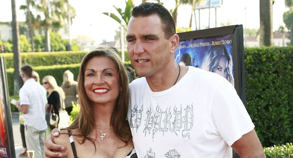 Vinnie Jones, right, and his wife, Tanya, arrive at the premiere of Stardust in Los Angeles