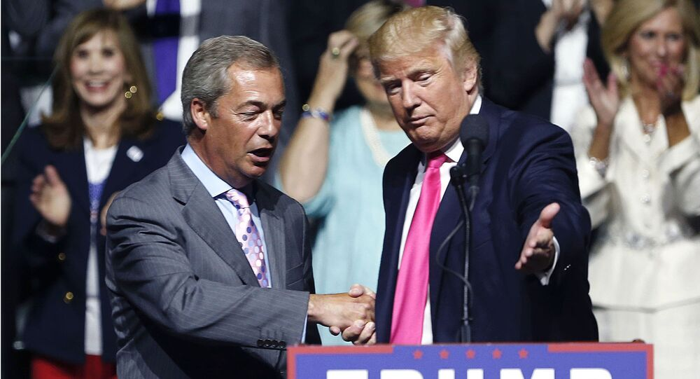 In this Wednesday, Aug. 24, 2016 file photo, the then Republican presidential candidate Donald Trump, right, welcomes pro-Brexit British politician Nigel Farage, to speak at a campaign rally in Jackson, Miss.