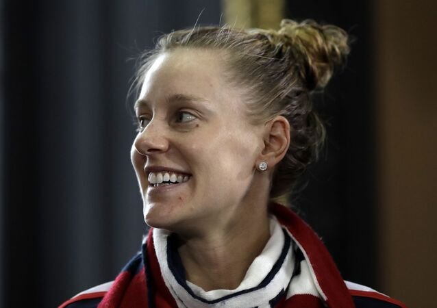 US tennis player Alison Riske smiles in Prague, Czech Republic