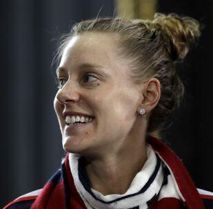 US tennis player Alison Riske smiles in Prague, Czech Republic