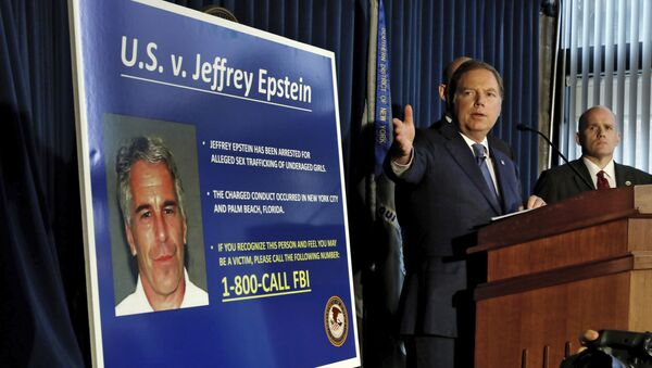 United States Attorney for the Southern District of New York Geoffrey Berman speaks during a news conference, in New York, Monday, July 8, 2019. Federal prosecutors announced sex trafficking and conspiracy charges against wealthy financier Jeffrey Epstein. Court documents unsealed Monday show Epstein is charged with creating and maintaining a network that allowed him to sexually exploit and abuse dozens of underage girls. - Sputnik International