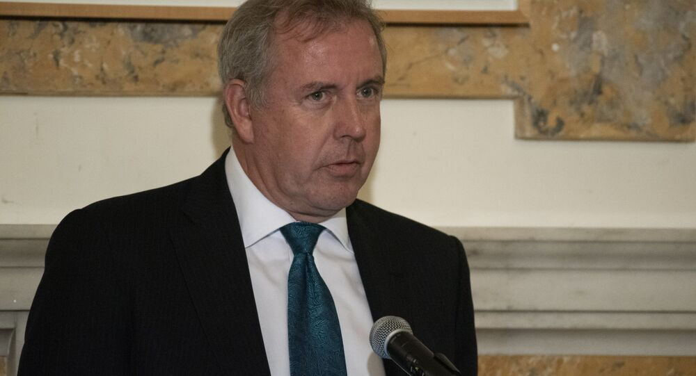 British Ambassador Kim Darroch speaks during a National Economists Club event at the British Embassy in Washington, Friday, Oct. 20, 2017