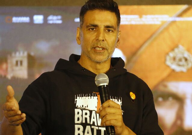 Bollywood actor Akshay Kumar addresses a press conference ahead of the release of his film Kesari in Ahmadabad, India, Friday, March 15, 2019. The film is slated for release on March 21