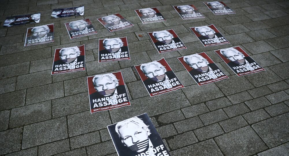 Placards depicting Julian Assange are seen outside of Westminster Magistrates Court, where a case hearing for U.S. extradition of Wikileaks founder Julian Assange is held, in London, Britain, June 14, 2019