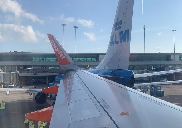 A minor plane collision is seen between a KLM and an EasyJet aircraft at Amsterdam Airport Shiphol, Netherlands July 9, 2019