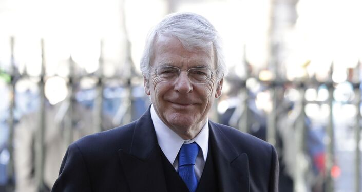 Britain's former Prime Minister John Major arrives to attend a service of thanksgiving for the life and work of Peter Carrington at Westminster Abbey in London, Thursday, Jan. 31, 2019