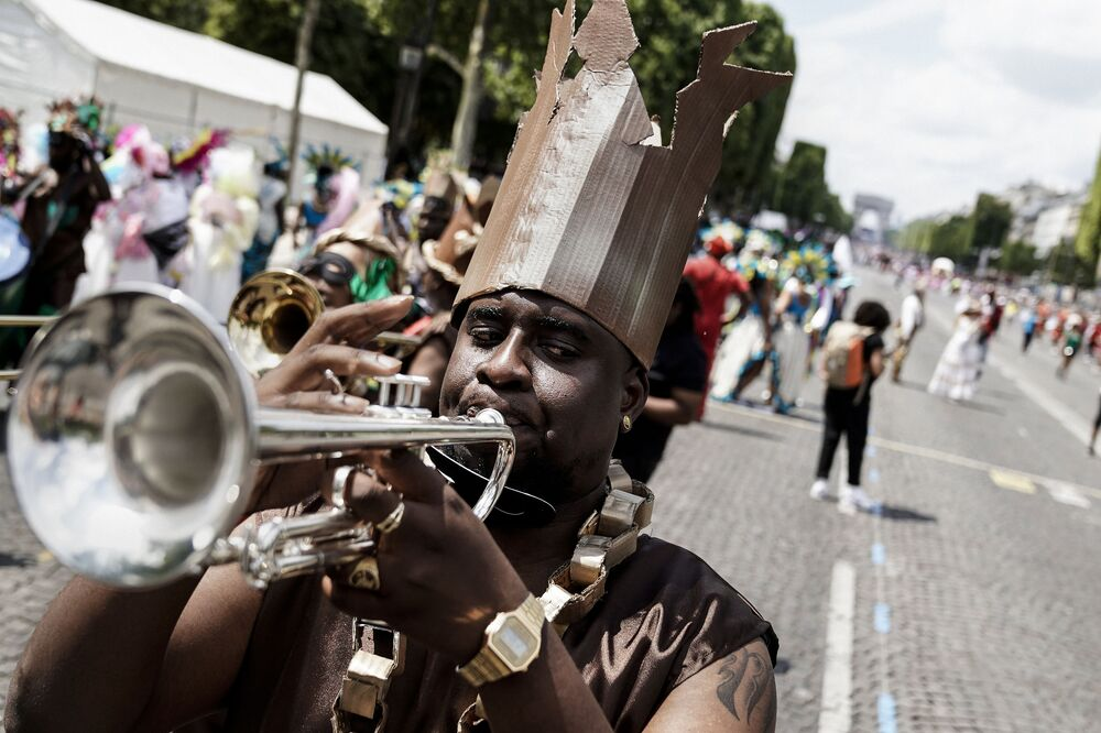 A musician during the Tropical Carnival on July, 7 2019 in Paris.