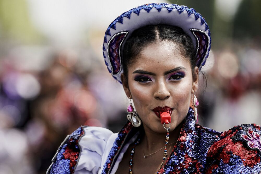 A woman during the Tropical Carnival in Paris on 7 July, 2019.