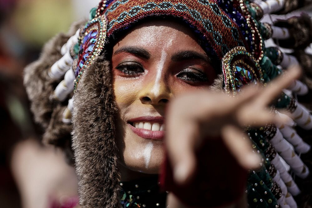 A woman during the Tropical Carnival in Paris.