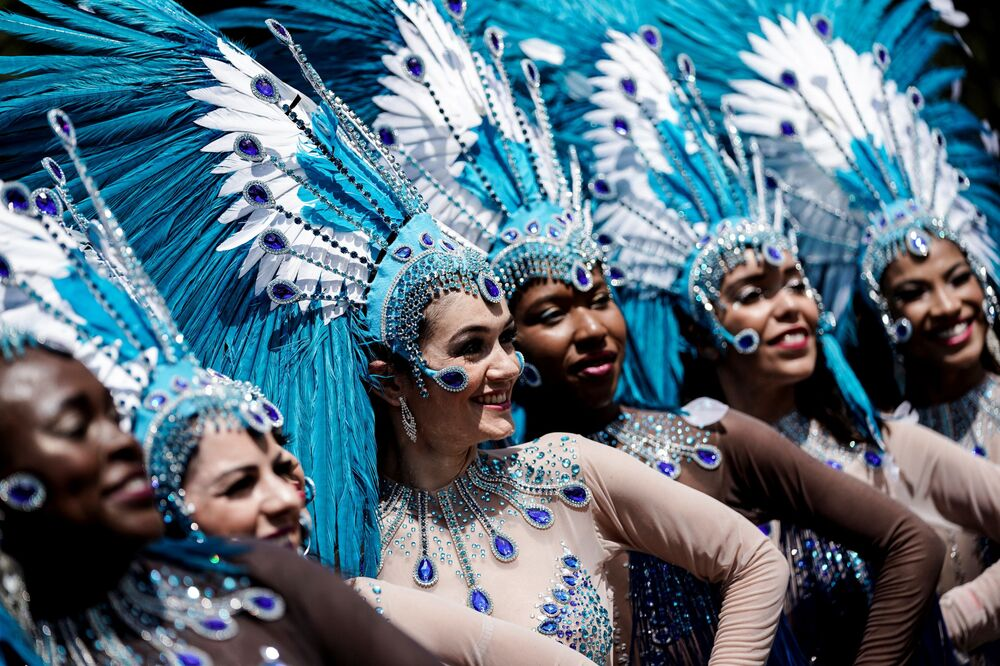 Female participants of the Tropical Carnival parade in Paris.