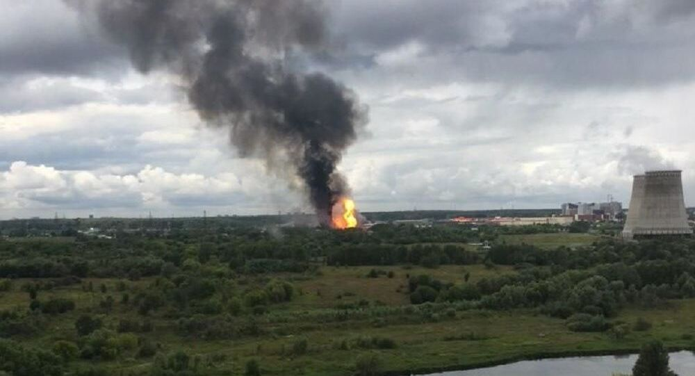 Fire at a combined heat and power production plant in the city of Mytishchi near Moscow