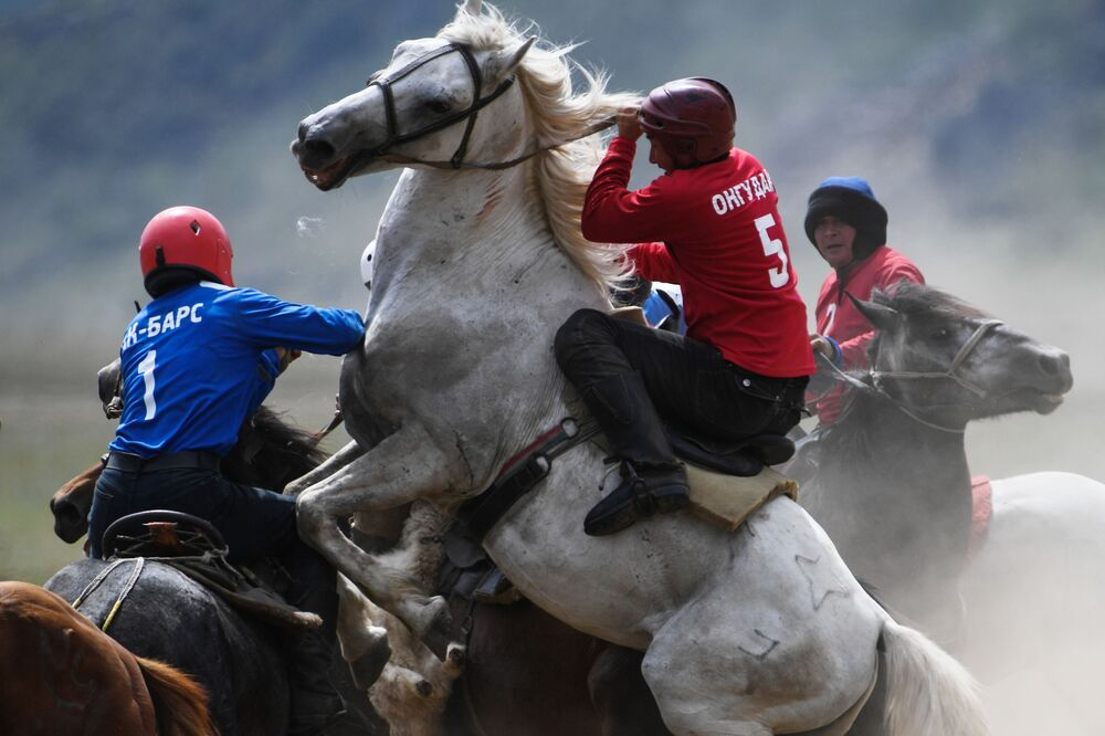 Players during a match at the Kok-Boru championship near the Kupchegen village in Russia's Altai Republic.
